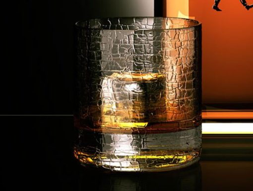 Produktvisualiserung. 3D Illustration einer Sonderedition einer Johnnie Walker Flasche